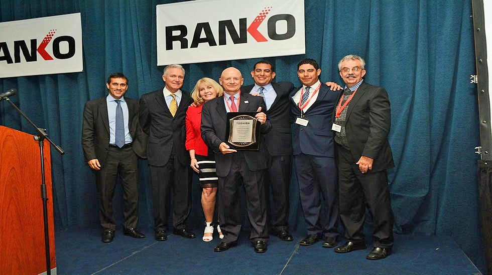 Ranko President and CEO Rodolfo Paskvan (center) receives award from Toshiba's Senior Vice President of Sales Americas, Larry White (2nd from left) and Toshiba International Sales Director, Adrian Fuentes-Sanabria (far left).